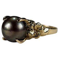 Black Tahitian Baroque Pearl Ring 14k Gold Solitaire Pearl Hawaiian Plumeria Flower Ring