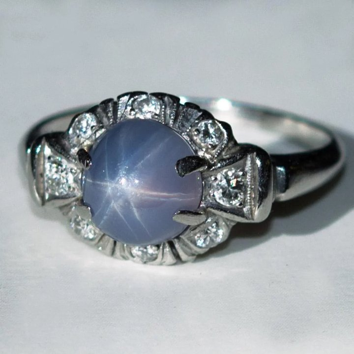 Popular Natural Star Sapphire Diamond Platinum Ring 4.50ctw Purple Star  XO72