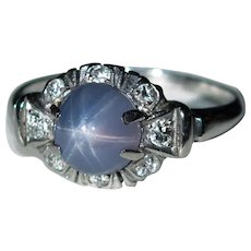 Natural Star Sapphire Diamond Platinum Ring 4.50ctw Purple Star Sapphire Ring