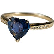 Natural Heart Sapphire Diamond Ring 10k Gold Solitaire Heart Sapphire Diamond Band Engagement Ring
