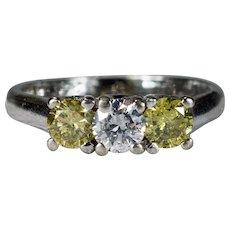Fancy Yellow Diamond Engagement Ring 1.20ctw 14k Gold Three Stone Diamond Ring