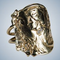 Antique Art Nouveau E Dropsy Cameo Diamond Ring 14k Gold Designer Signed Iris Cameo Ring