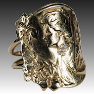 Antique E Dropsy Cameo Diamond Ring 14k Gold Designer Signed Iris Cameo Ring