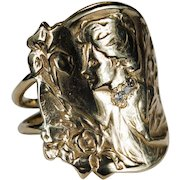 Antique E Dropsy Cameo Diamond Ring 14k Gold Designer Signed Iris Cameo Ring