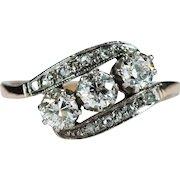Antique Old European Cut Diamond Ring 585 14k Gold Three Stone Diamond Ring