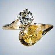Natural Old European Cut Diamond Yellow Sapphire Ring 14k Plumb Gold