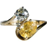 Old European Cut Diamond Sapphire Ring 1.90ctw 14k Plumb Gold Natural Yellow Sapphire Diamond Ring