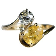 Natural Old European Cut Diamond Yellow Sapphire Ring 14k Plumb Gold