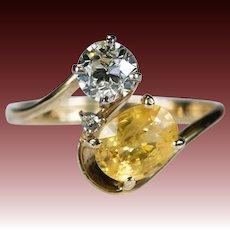 Old European Cut Diamond Sapphire Ring 1.90ctw 14k Plumb Gold Natural Yellow Sapphire Diamond Ring