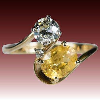 Old European Cut Diamond Sapphire Ring 1.90ctw 14k Plumb Gold Yellow Sapphire Diamond Ring