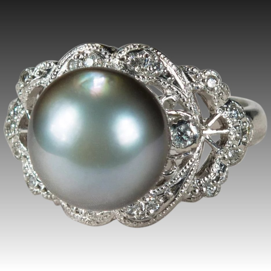 Pearl Platinum: Antique Tahitian Pearl Diamond Platinum Ring : Tanya's