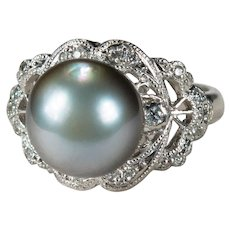 Antique Tahitian Pearl Diamond Platinum Ring