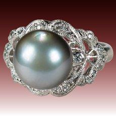 Antique Tahitian Pearl Diamond Platinum Ring