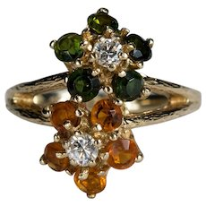 Tourmaline Citrine Diamond Ring 14k Gold Mixed Gemstone Flowers Ring