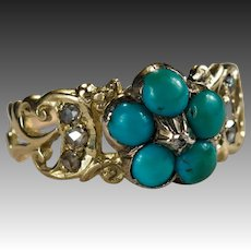Antique Victorian Turquoise Old Rose Cut Diamond Ring 10k Gold Hand Crafted Natural Diamond Turquoise Flower Ring
