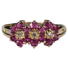 Natural Ruby Diamond Ring 14K Plumb Gold Ruby Flowers