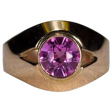 Russian Pink Corundum 14k Rose Gold Solitaire Sapphire Ring