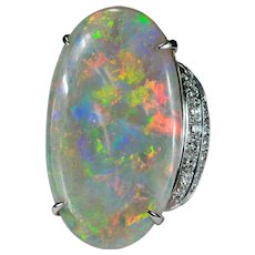 Australian Natural Opal Diamond Ring 22ctw 18k Gold Black Opal Ring