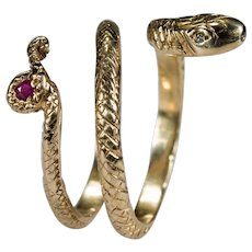 Ruby Diamond Snake Ring 14k Gold Ruby Tail Diamond Eye Snake Coil Wrap Rattle Snake Ring