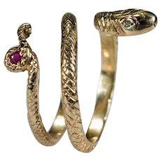 Ruby Diamond Snake Ring 14k Gold Ruby Tail Diamond Eye Snake Coil Wrap Rattle Snake Ring