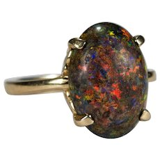 Andamooka Opal Ring 4.85ctw 14k Gold Black Matrix Stone Opal Ring