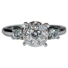 Natural Diamond Ring 14k Gold Engagement Ring Diamond Cluster Flower Wedding Ring