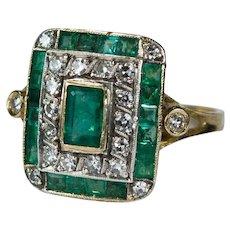 Antique Edwardian 2.0ctw Emerald Diamond 18k Gold Ring