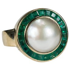Natural Emerald Mabe Pearl Ring 18k Gold Pearl Emerald Ring