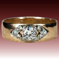 Old European Cut Diamond Ring 14k Gold Old Euro Diamond Wedding Band Engagement Ring