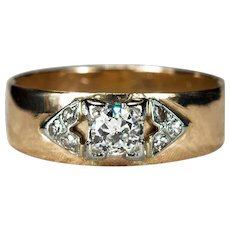 Old European Cut Diamond Ring 14k Gold Old Euro Diamond Wedding Band Engagement Ring