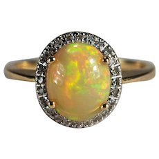 Natural Yellow Fire Opal Diamond Ring 14k Gold Natural Diamond Halo Opal Ring