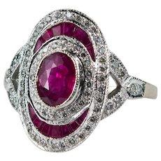 Oval Ruby Diamond Ring 2ctw 18k Gold Genuine Ruby Diamond Halo Ring