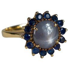 Star Sapphire Ring 18k Rose Gold Sapphire Halo Flower Ring