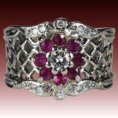Ruby Diamond Lattice Ring 14k Gold Wide Band Ruby Halo Diamond Ring