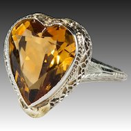 Antique Solitaire Citrine Heart Ring 4.0ctw 14k Gold Filigree Ring