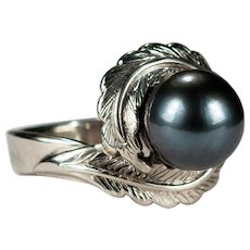 Black Tahitian Pearl Ring 14k Gold Solitaire Pearl Bypass Feather Ring