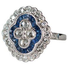 Old Rose Cut Diamond French Cut Sapphire Ring 14k Gold