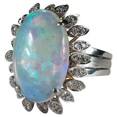 Art Deco Opal Diamond Ring 7.75ctw 18k Gold Natural Opal Ring