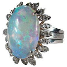 Art Deco Opal Diamond Ring 7.75ctw 18k Gold Natural Opal Ring