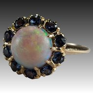 Natural Opal Sapphire Ring 14k Gold