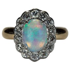 Old European Cut Diamond Opal Ring Platinum 14k Gold Old Euro Cut Halo Natural Opal Ring