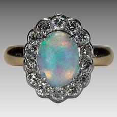 Old European Cut Diamond Opal Ring Platinum 14k Gold Old Euro Cut Halo Natural Opal Ring
