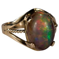 Natural Boulder Opal 14k Gold Ring