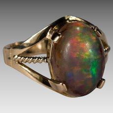 Natural Boulder Opal 14k Gold Ring