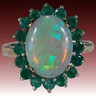 Natural Opal Emerald Ring 14k Gold Emerald Halo Opal Ring