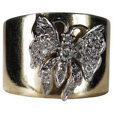 Diamond Butterfly Ring 14k Gold Cigar Band Diamond Ring