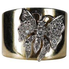 Diamond Butterfly Ring 14k Gold Cigar Band Diamond Ring