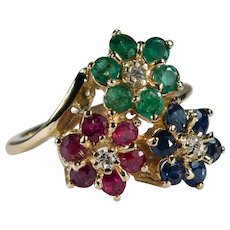 Ruby Emerald Sapphire Diamond Ring 2.60ctw 14k Mixed Gemstone Flowers Ring