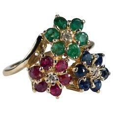 Ruby Emerald Sapphire Diamond Ring 2.60ctw 14k Mixed Gemstone Flowers Ring