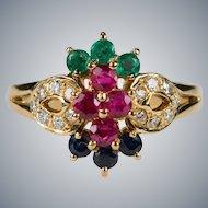 Ruby Emerald Sapphire Diamond Ring 18k Gold Mixed Gemstone Ring